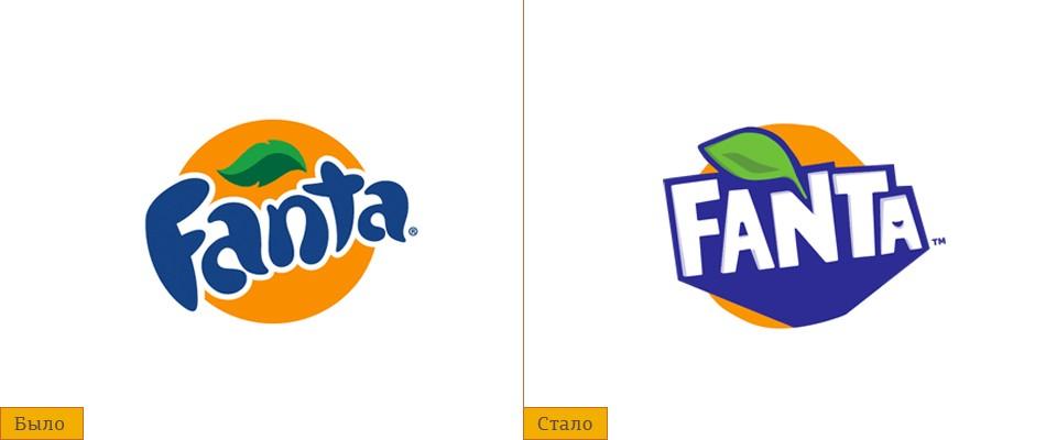 Старый и новый логотипы Fanta