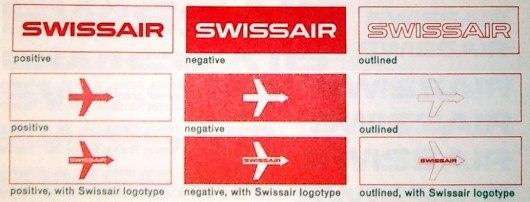 Разные варианты применения логотипа swissair  в 50-х годах