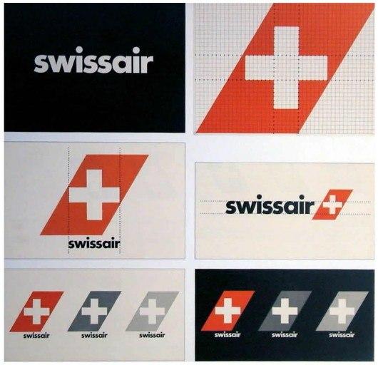 Последние изменения в логотипе компании swissair